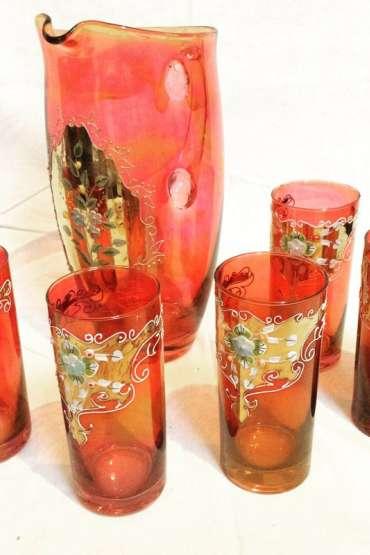 Art Nouveau . El boyama Karaf ve Altı adet  bardağı