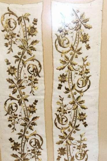 Çerçevede Osmanlı Altın Sırma Yatık iş Işlemeli Bez