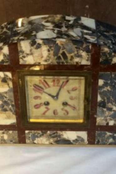 19.yy.Fransız Mermer Bronz Aplikeli,Sedef Kadranlı,Çift Mumluklu Şömine Saat