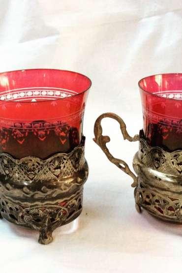 Osmanlı Gümüş Çift Bardak Zarfı Kırmızı Bohem Bardaklı