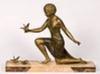 ART DECO 20.Y.Y. BASI  IMZALI KUSLU KADIN HEYKELI