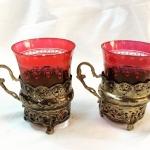 Osmanlı Gümüş Çift Zarf Kırmızı Bohem Bardaklı