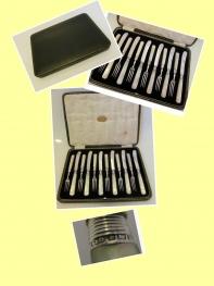 Allen & Darwin - 1913-1916 Gümüş ve Sedef Saplı Meyve Çatal Bıçak  Set