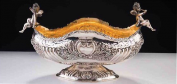Eros Bebekli Gümüş Jardinyer Altın Vermeyli