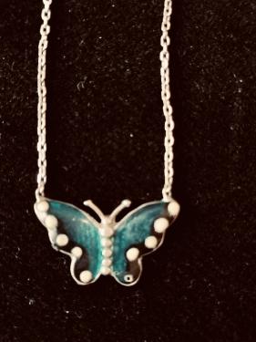 Kelebek gümüş Kolye Mineli