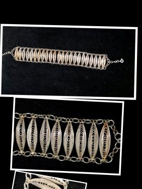 Antika Gümüş Telkari Bileklik