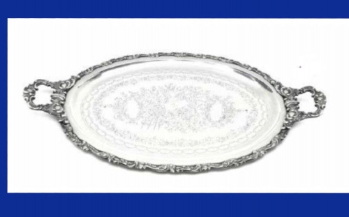 Osmanlı Tuğralı Gümüş Tepsi 3518gr